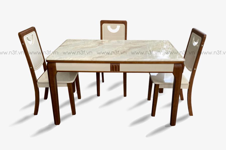 Bộ bàn ăn nhập khẩu mặt đá mã 1904 ( kèm 4 ghế )