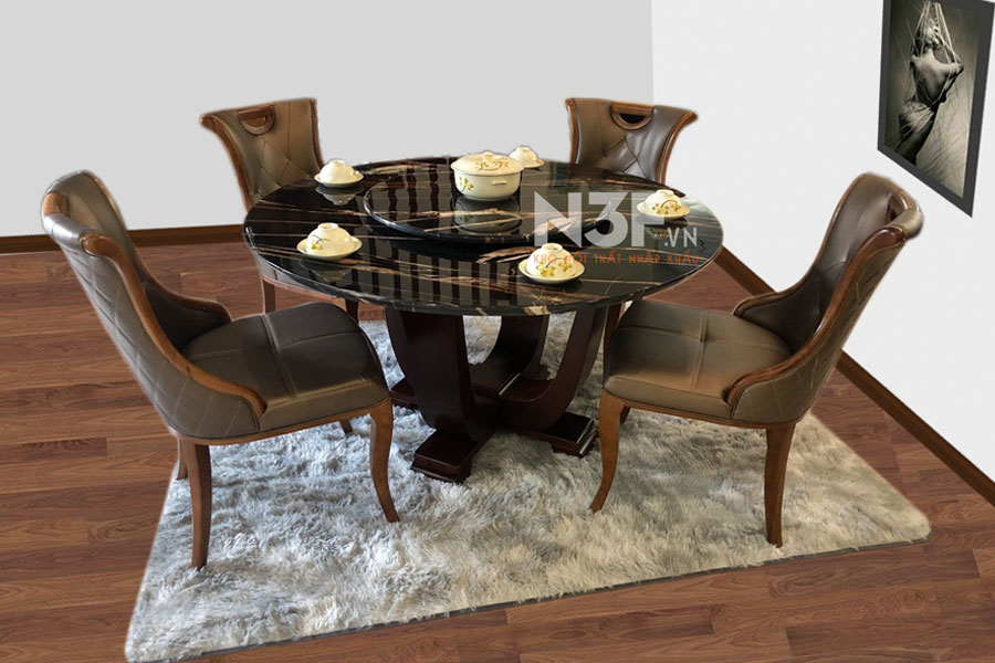 Bộ bàn ăn tròn nhập khẩu mặt đá mã N3T012F
