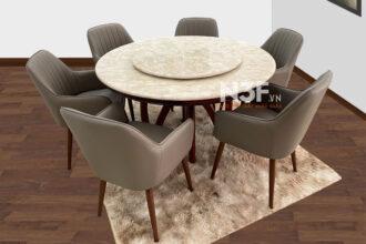 Bộ bàn ăn tròn nhập khẩu mặt đá mâm xoay  N3F-T001