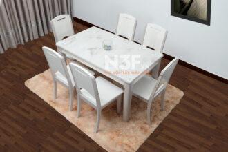 Bộ bàn ăn nhập khẩu mặt đá mã 20-C130