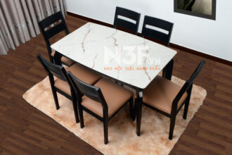Bộ bàn ăn nhập khẩu mặt đá mã M710/T8 + 6 ghế