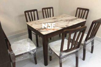 Bàn giao bộ bàn ăn mãu N3f087 mặt đá cao cấp