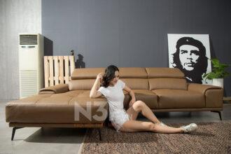Sofa góc da nhập khẩu HG711