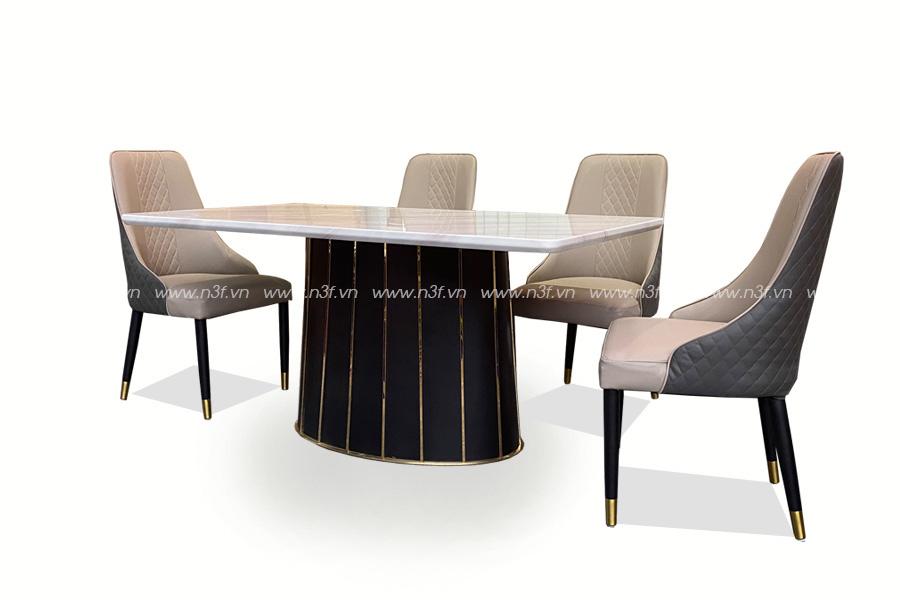 Bộ bàn mặt đá cao cấp mã F835# + 6 ghế