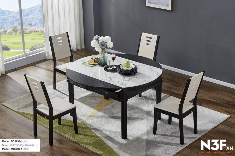 Bộ bàn ăn thông minh mở rộng thành bàn tròn DC8799#