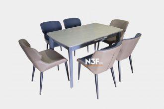 Bộ bàn ăn thông minh 6 ghế mặt đá nhập khẩu F-C008#