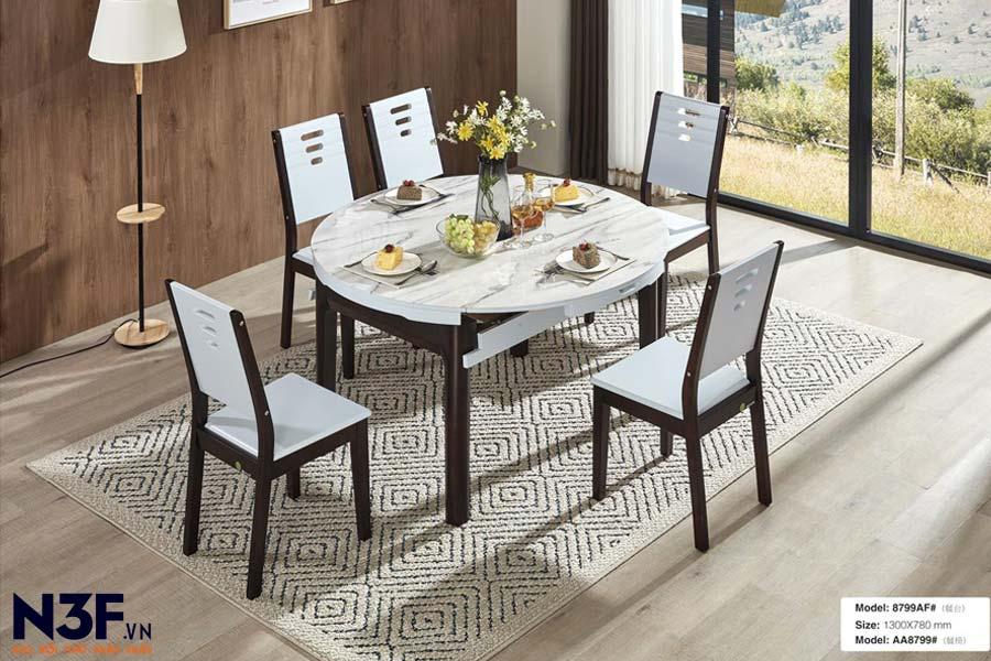 Bộ bàn ăn thông minh mở rộng thành bàn tròn F8799A