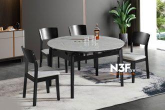 Bộ bàn ăn thông minh mặt đá mở rộng thành bàn tròn F35A#