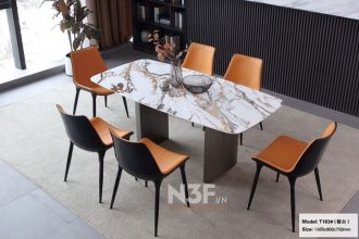 Bộ bàn ăn nhập khẩu mặt đá phong cách ý mã F183#