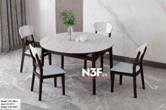 Bộ bàn ăn thông minh mặt đá mở rộng thành bàn tròn F777#