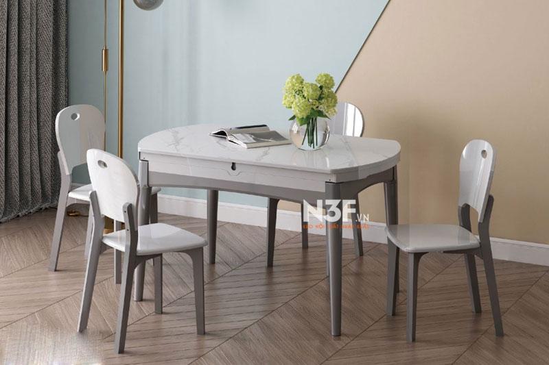 Bộ bàn ăn thông minh mở rộng thành bàn tròn ( kèm 4 ghế )