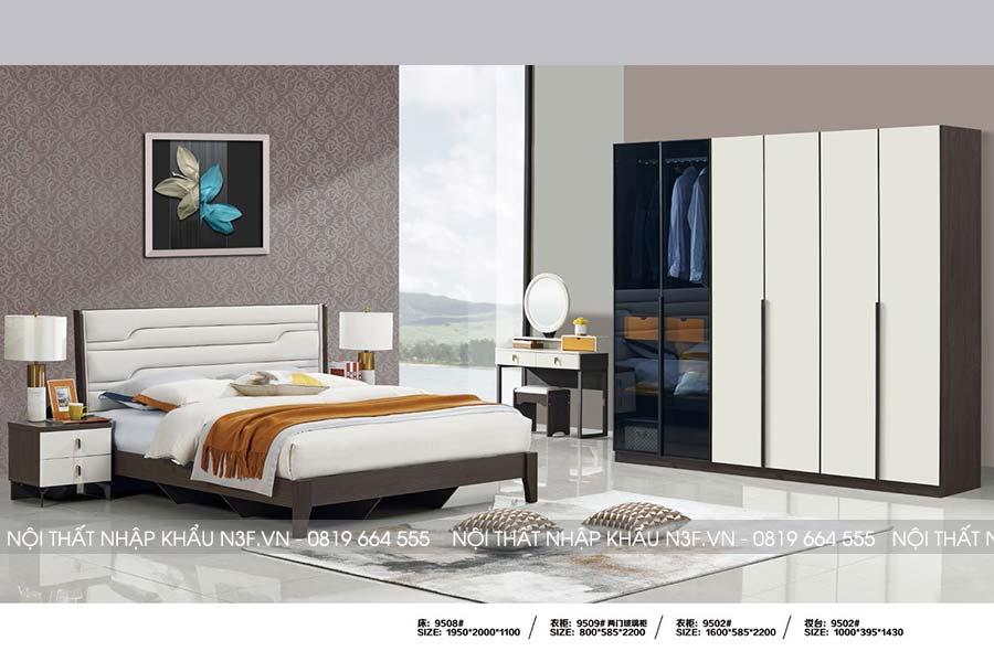Bộ nộ thất phòng ngủ nhập khẩu đẹp F-9508#