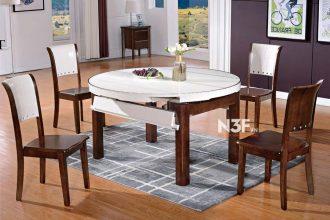 Bộ bàn ăn thông minh mở rộng thành bàn tròn F606#