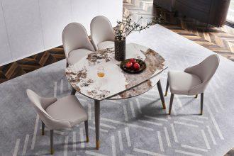 Bộ bàn ăn tròn thông minh mặt đá phong cách ý HF082#